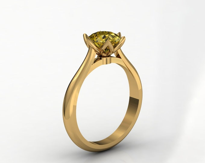 18k  Yellow Gold Classic Engagement or Wedding Ring with Yellow Zirconia Item # LARFW -00676