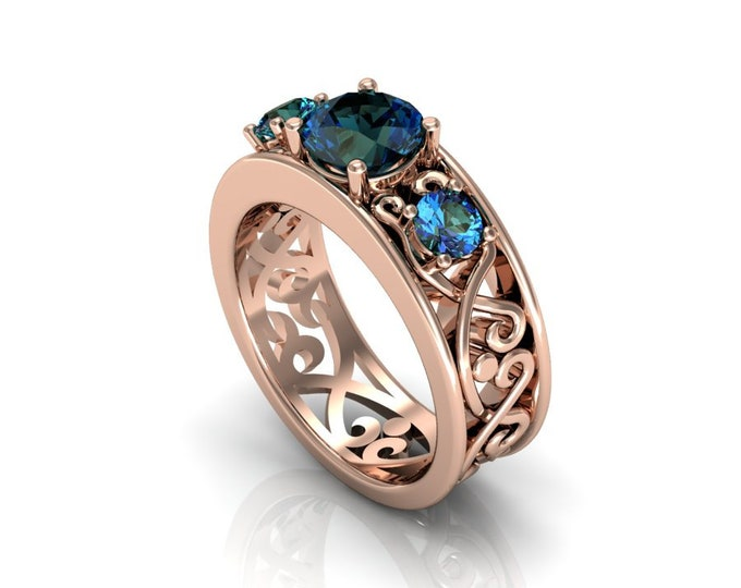 14k Rose Gold Wedding or Engagement Ring with Lab Created Alexsandrite Item # LAFW-000-X-356