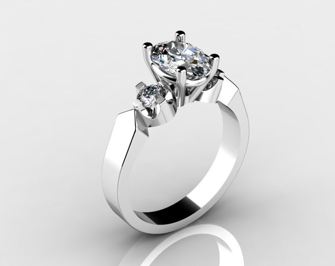 14k White Gold Engagement Ring with Diamond and Moissanite Item # LAFW-X-185