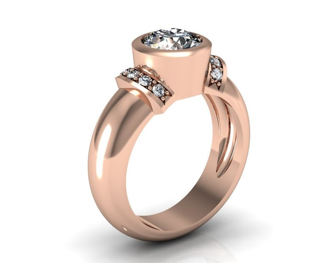 14k Rose Gold Wedding or Engagement Ring with Moissanite and Diamond Item # LAFW-000-X-339