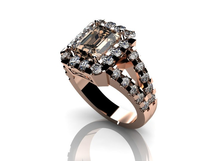 14k Rose Gold Wedding or Engagement Ring with Morganite and Diamond  Item # LAFW-000-X-304