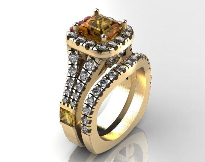 14k Yellow Gold Wedding or Engagement Ring with Citrine and Diamond Item # LAFW-000-X-312