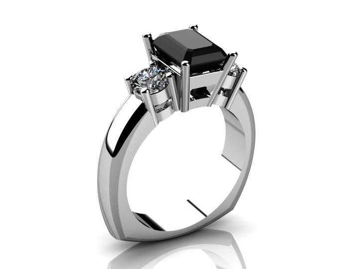 14k White Gold Wedding or Engagemnt Ring with Moissanite and Black Diamond Item # LAFW-000-X-214