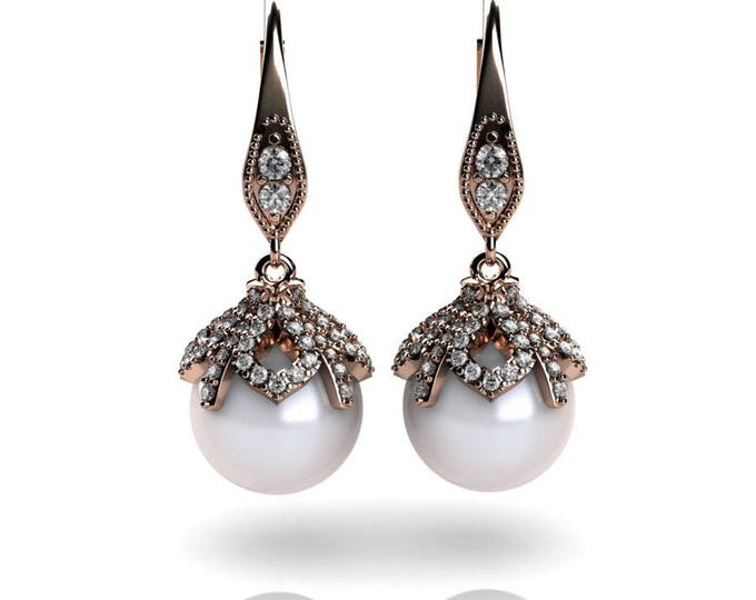 14k Rose Gold Earring with , Diamond and Cultured White Peral Item # PFW-000-X-69