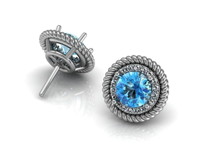 14k White Gold Stud Earrings with Aquamarine and Diamond Item # LAFW-000-X-156