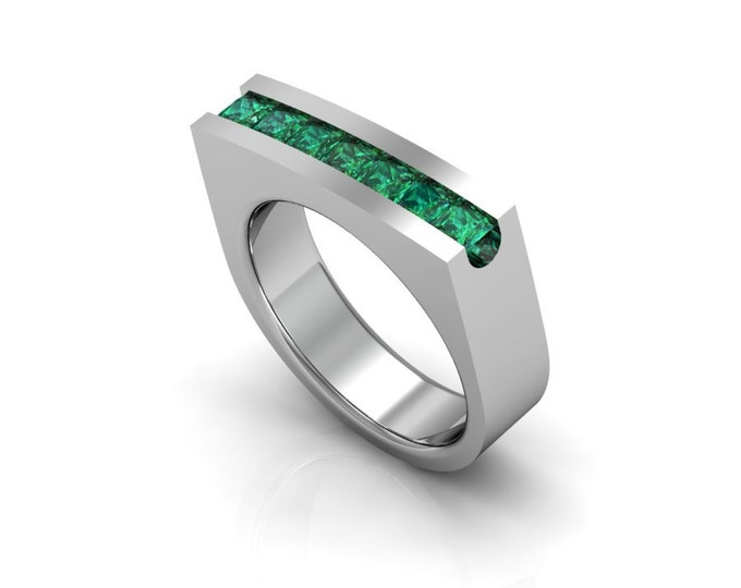 14k White Gold Engagement or Wedding Ring wite Emerald Item # LAFW_000-X-135