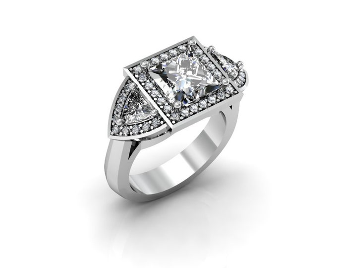 14k White Gold Wedding or Engagement Rind with Diamond and Moissanite Item # LAFW-000-X-176