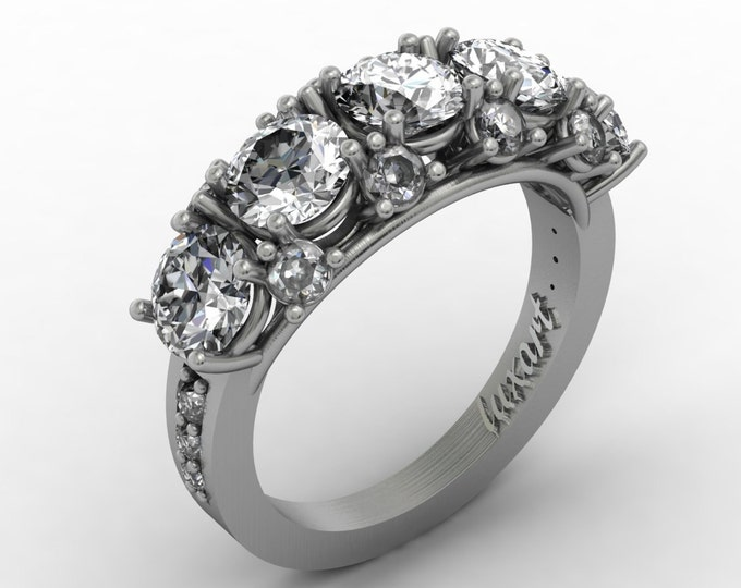 MELODY -14k White Gold Classic Engagement or Wedding Ring with Diamond and White cubic Zerconia Item #: RFW -00355