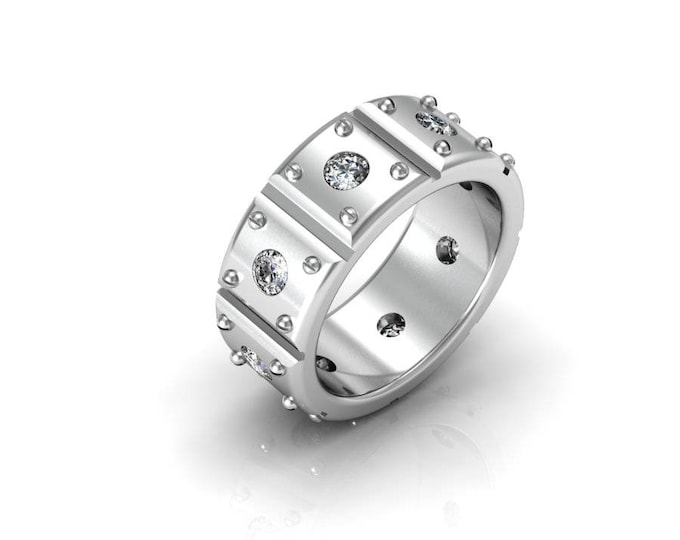 Heavy Duty - 14K White Gold Engagement or Wedding Band for Men w/ Diamonds (Item#: RFM-0076)