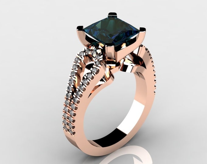 14k Rose Gold Wedding or Engagement Rind with Diamond and lab created Alexsandrite Item # LAFW-000-X-194