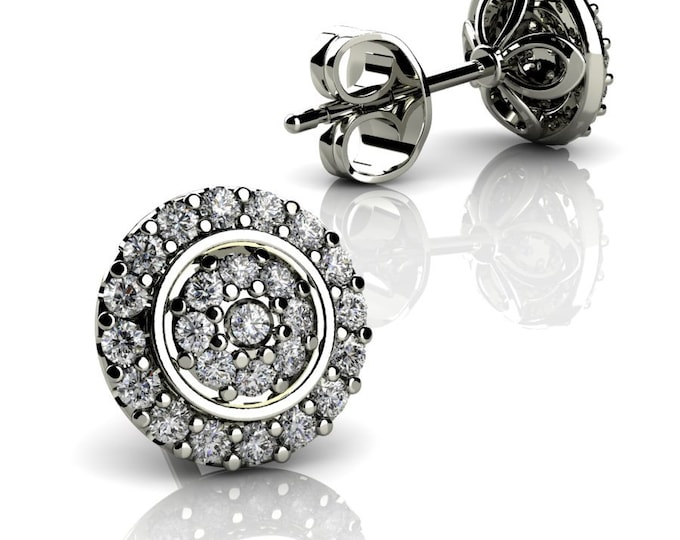 14k White Gold -Stud Earrings with Diamond Item # LAEFW -00803