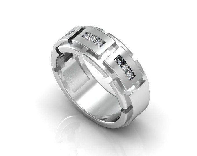 Tough Style 14K White Gold Engagement or Wedding Band for Men with Diamond Item # RFM000-X-256