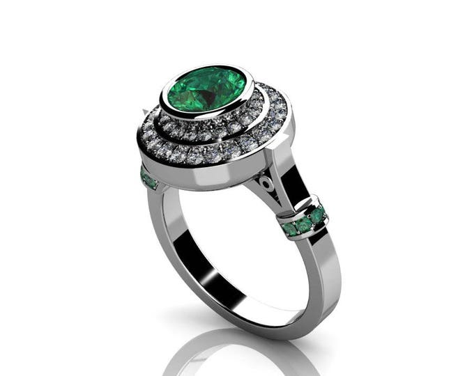 14k White Gold Classic Engagement or Wedding Ring with Diamond and Emerald Item # RFW-000-X-21