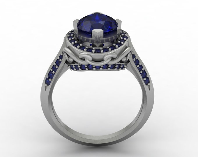 Venetian - 14k White Gold Classic Engagement or Wedding Ring with Blue Sapphire Item # : RFW -00397