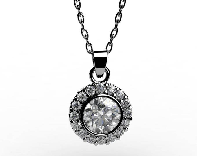 14k White Gold Pendants with 18 Inch Chain,and Diamond,  Item # PFW-000-X-33