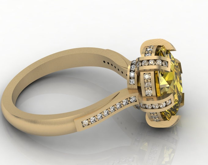 OMEGA - 14k Yellow Gold Classic Engagement or Wedding Ring with Yellow Citrine and Diamonds (Item # LAWR-00510)