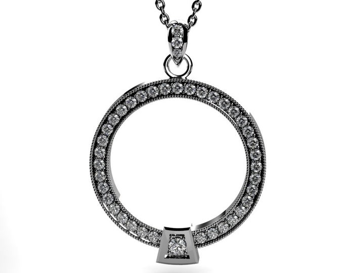 14k White Gold Diamond Pandent item # LARFW-000-X-120