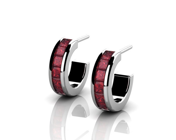 14k White Gold Classic Earrings with Ruby Item # LAFW-000-X-161
