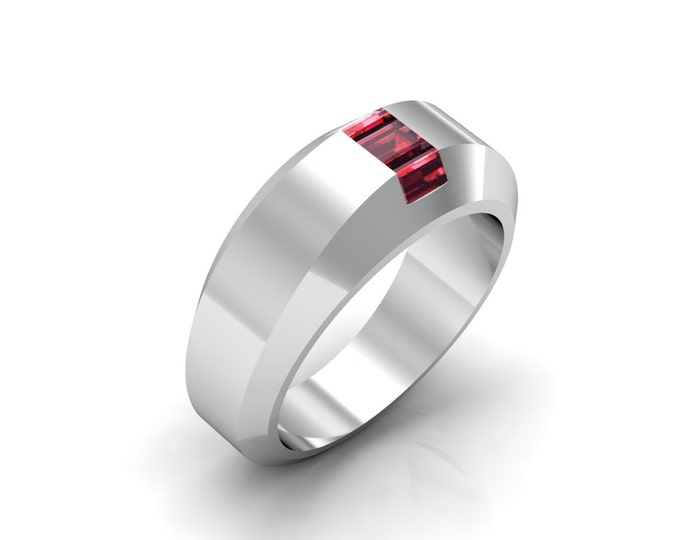 HILL ST. 14k White Gold Classic Engagement or Wedding Ring with Ruby Item # LARFW -00654
