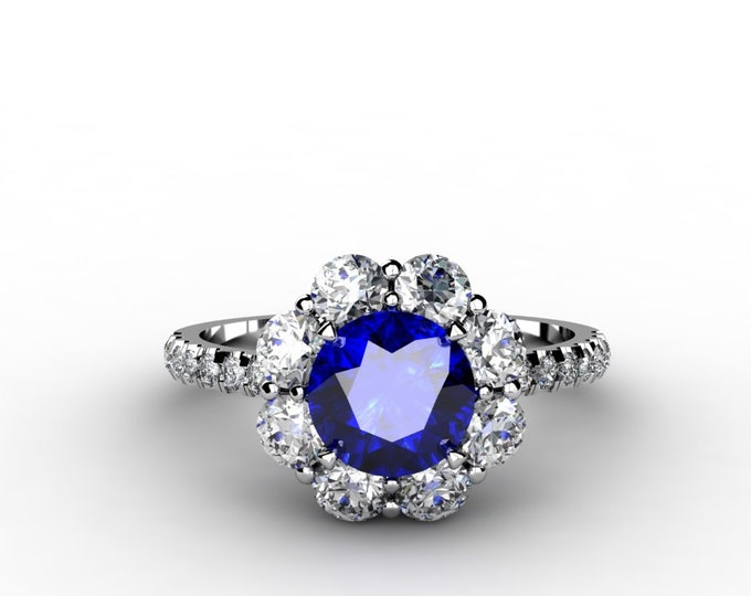 ANTIQUE-18K White Gold Wedding or Engagement Ring with  Diamond and Blue Sapphire Item # LAFW-000-X-125