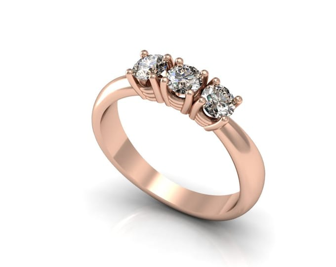 14k Rose Gold Classic Engagement or Wedding Ring with Brown Champagne Diamond Item # LARFW-00821