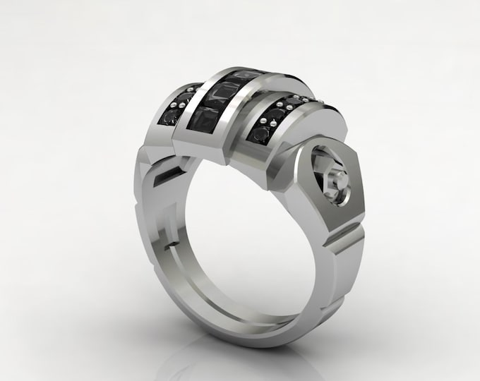 L-CROSS -14k White Gold Classic Engagement or Wedding Band with Black Diamond Item # LARFM -00583