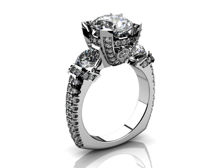14k White Gold Wedding or Engagement Ring with Diamond and Moissanite Item # LAFW-000-X-202