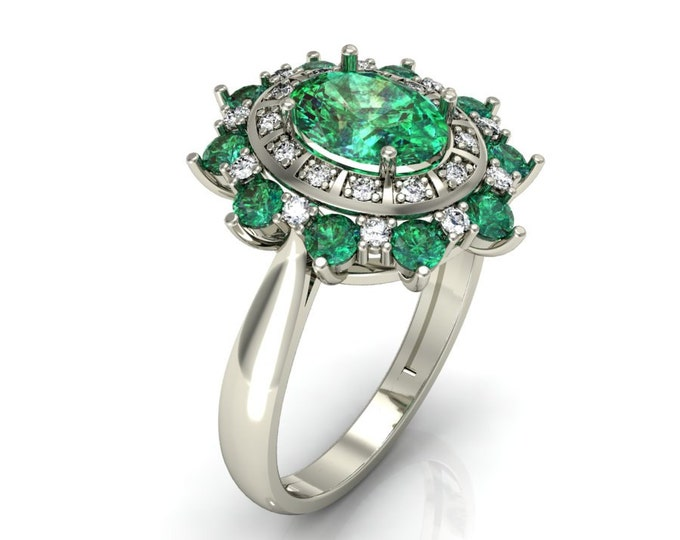 18k White Gold Classic Engagement or Wedding Ring with Diamond and Emerald Item # LARFW-00751