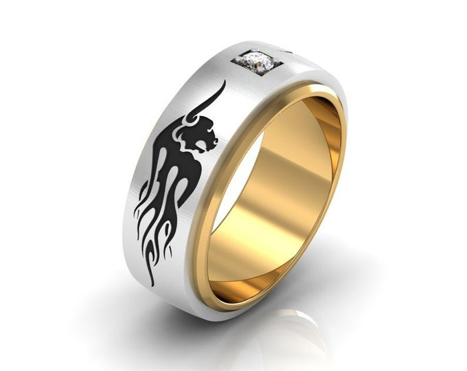 RAGING BULL - 14k White and Yellow Gold Classic Engagement or Wedding Band with on Black Enamelled and Diamond (Item # LAFM-000-X=251