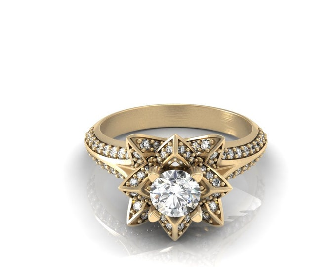 STAR - 18k Yellow Gold Classic Engagement or Wedding Ring with Diamond and moissanite Item # LARFW-000-X-104
