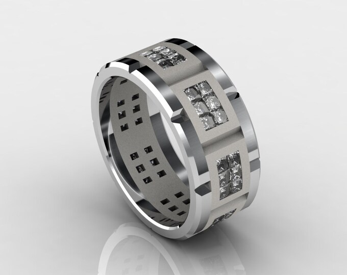 Mens - Jewelry   18k- White Gold Classic Engagement or Wedding Band with Diamonds Item # LARFW -00605