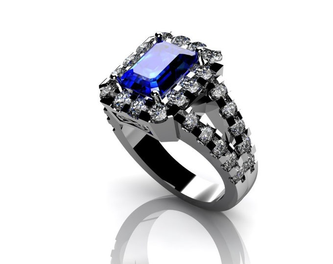 14k White Gold Wedding or Engagement Ring with London Blue Topaz and Diamond Item # LAFW-000-X-307