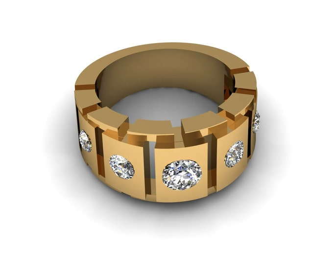 Links of Passion - 14K Yellow Gold Engagement or Wedding Band w/ a Diamond and White Sapphire (Item#: RFM-0099)