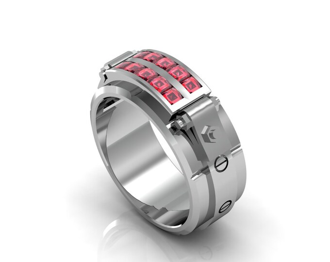 Al Capone -14k White Gold Classic Engagement or Wedding band with Ruby stones (Item#: LAMR-00592)