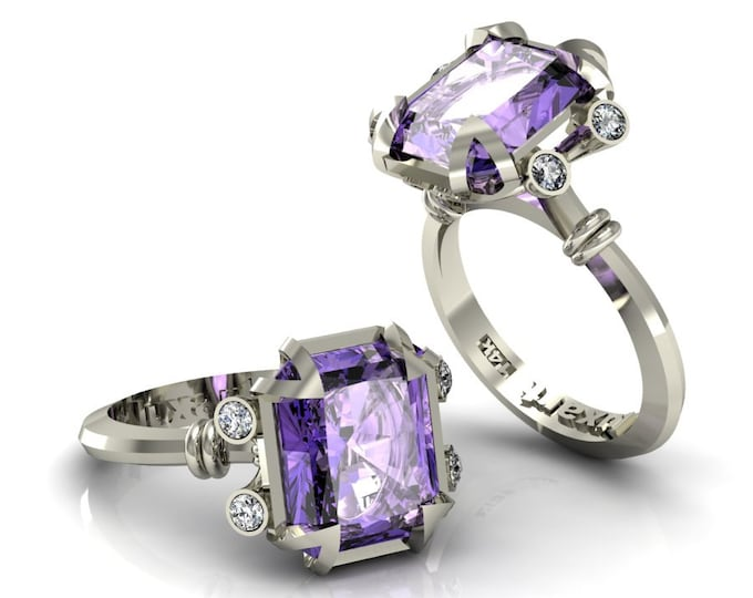 MIRAGE- 18K White Gold Classic Engagement or Wedding Ring with Diamond and Amethyst Item: RFW -00271