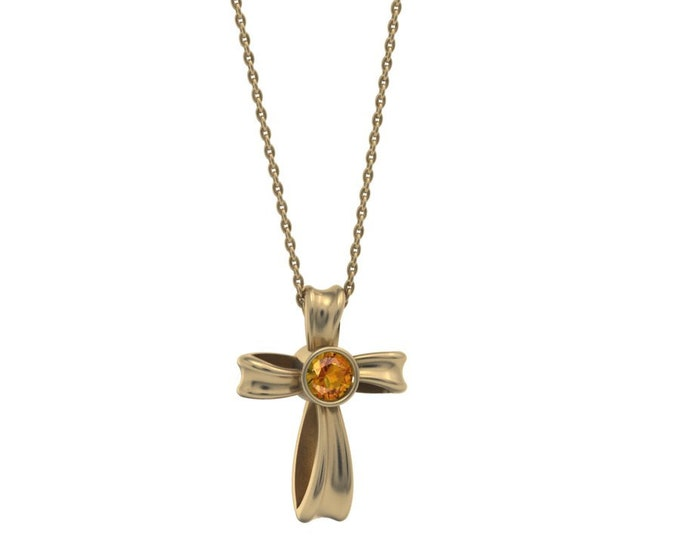 Cross- pandant-14k Yellow Gold Classic Pandant with 18 inch chaine,and Citrine Item # LARFW-000-X-324