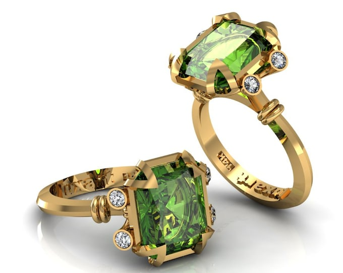 MIRAGE- 18K Yellow Gold Classic Engagement or Wedding Ring with Diamond and Tourmaline Item: RFW -00265