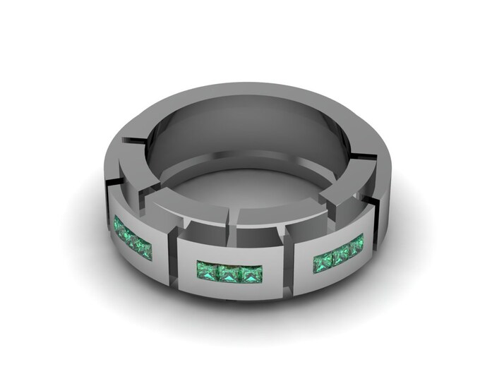 Tough Style 18K  White Gold Engagement or Wedding Band for Men with Emerald Item # RFM -0068