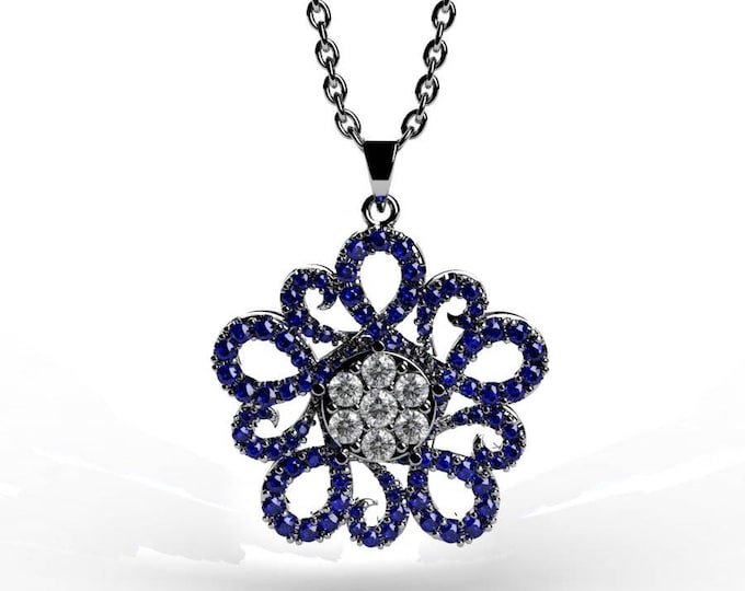 14k White Gold Pendants with 18 Inch Chain, Diamond, and Blue Sapphire Item # PFW-000-X-49