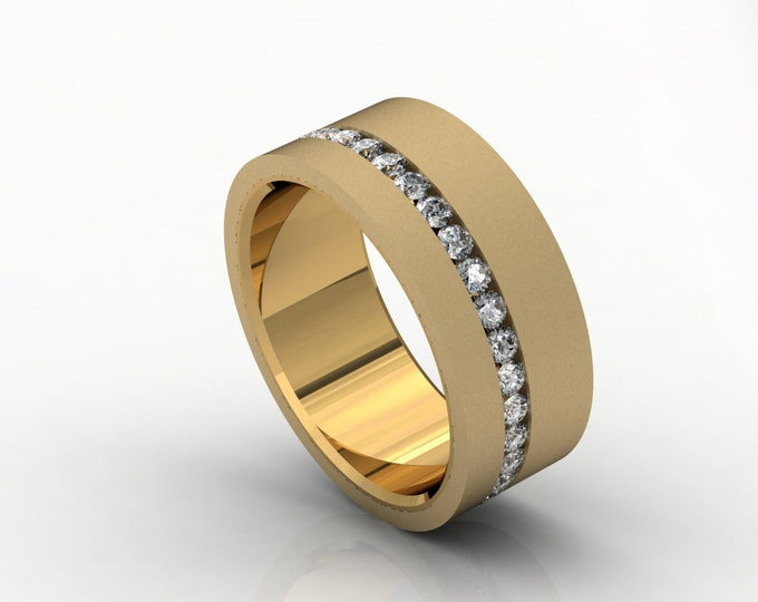 Diamond-Crcle 18k Yellow Gold Classic Engagement or Wedding Band with Diamond Item # LARFM -00621