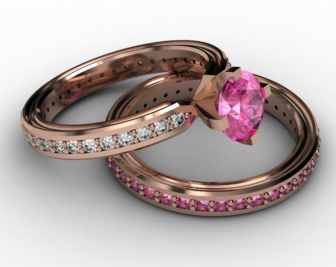 CHEMISTRY -14K Rose Gold Classic Engagement or Wedding Band with  Diamond and Pink Sapphire  Item #; RFW -00492