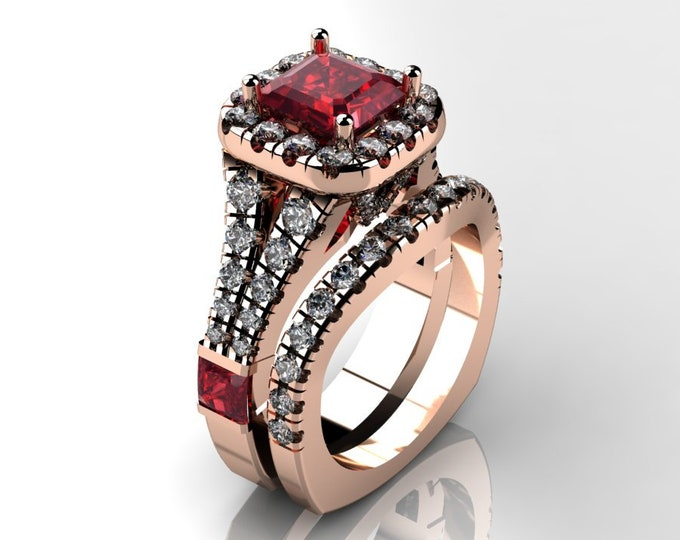 14k Rose Gold Wedding or Engagement Ring with Ruby and Diamond Item # LAFW-000-X-315