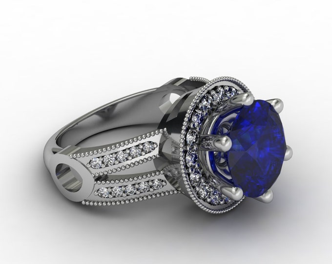 Planet -14k white Gold Classic Engagement or Wedding Ring with Diamond and Blue Sapphire Item#: RFW-00242