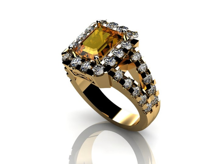 14k Yellow Gold Wedding or Engagement Ring with Citrine and Diamond Item # LAFW-000-X-306