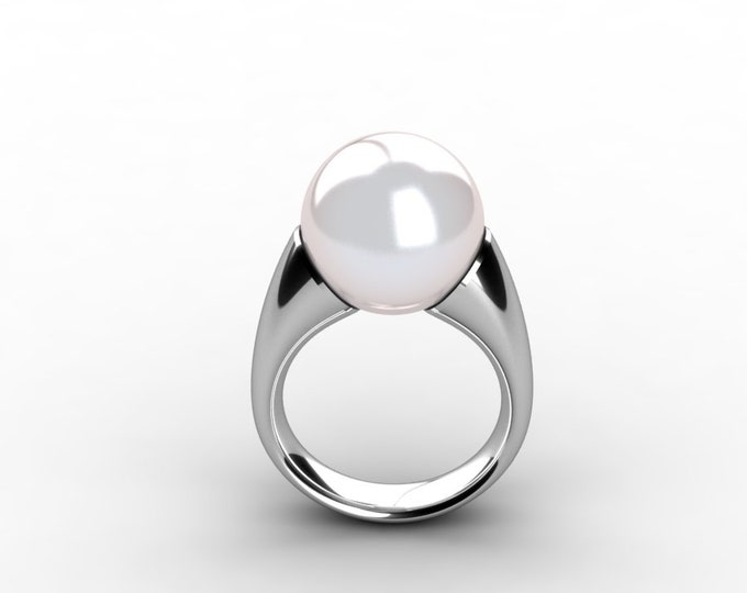 14k White Gold Classic Engagement or Wedding Ring with Cultured White  Pearl  Item # RFW-000-X-208