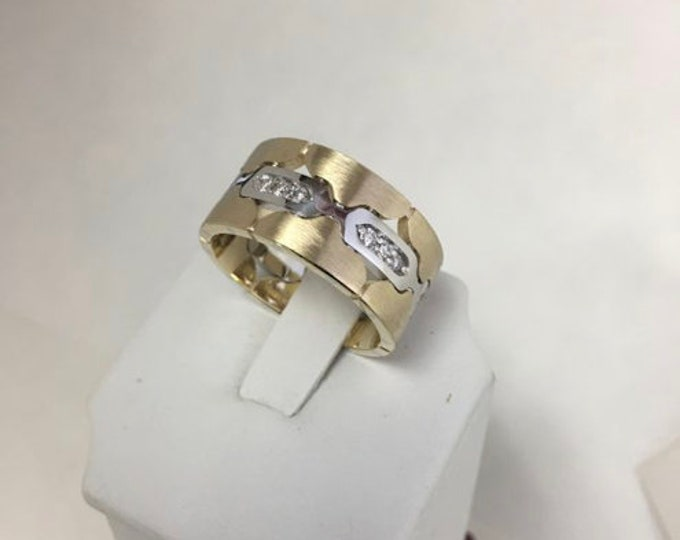 SPECIAL-40% Off 14k Two Tone Yellow/White Gold Classic Engagement and Wedding Band with Diamonds ( 1 SIZE ONLY 10 1/2 ) Shepping Next Day