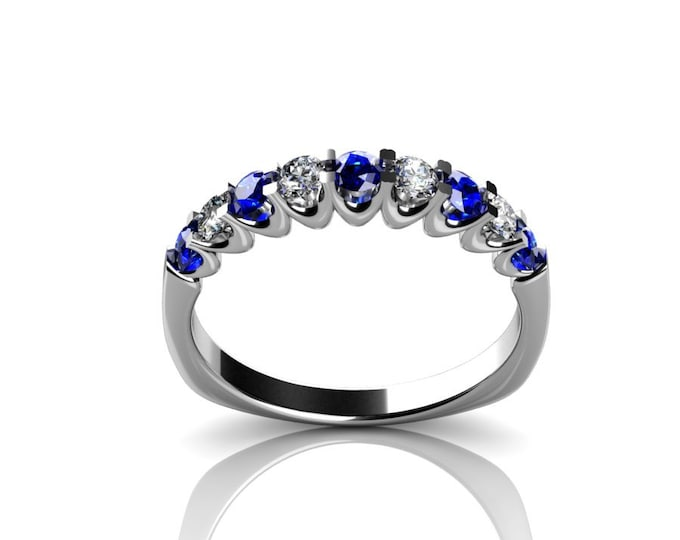 14k White Gold Wedding or Engagement Ring with Diamond and Blue Sapphire Item # LAFW-000-X-223