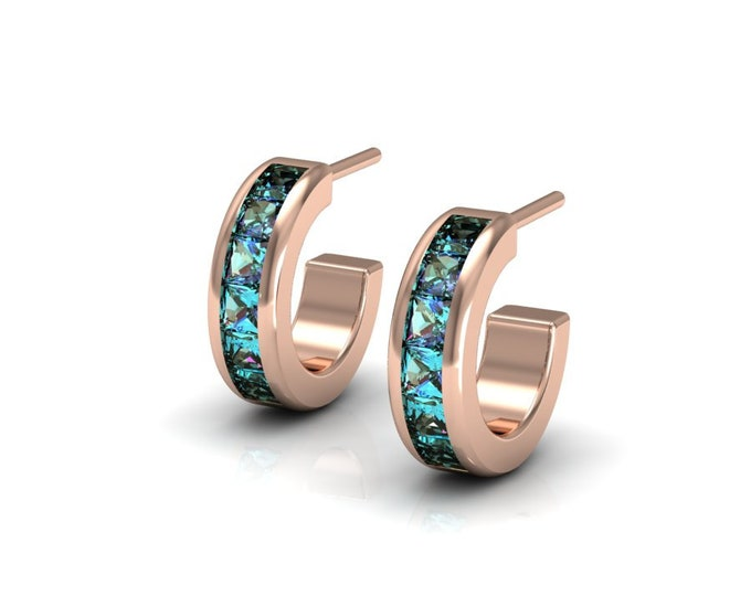 14k Rose Gold Classic Earrings with Alexsandrite Item # LAFW-000-X-162