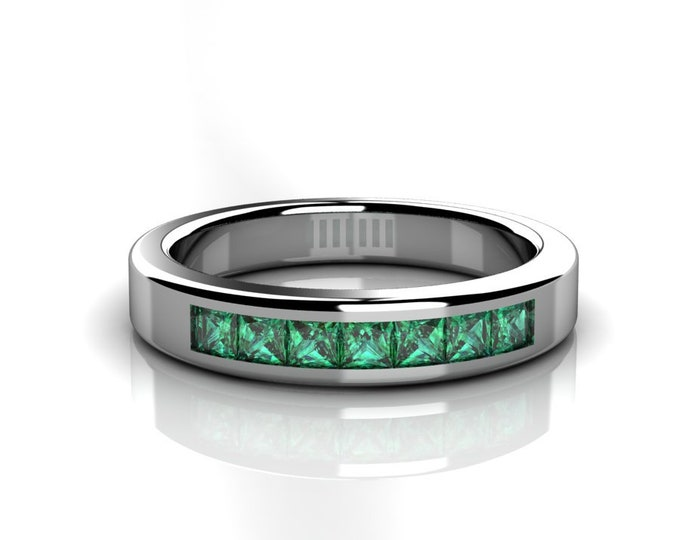 14k White Gold Wedding or Engagement Band with Emerald Item # LAFW-000-X-338