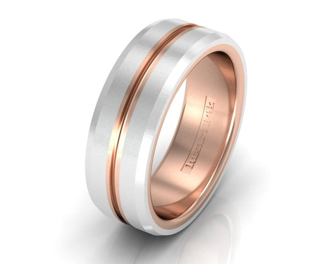 14k Two Tone White and Rose Gold Classic Engagement or Wedding Bands Item # RFM-000-X-81